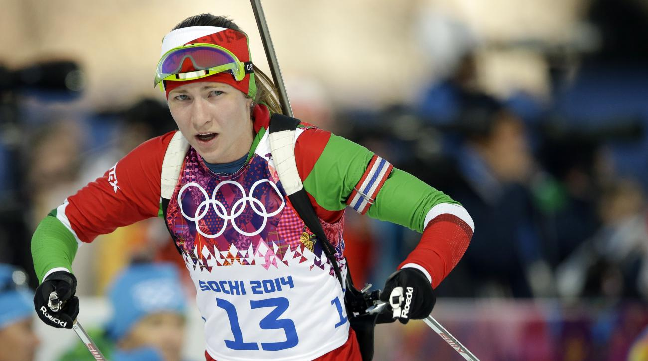 Belarus' Darya Domracheva competes during the women's biathlon 15k individual race, at the 2014 Winter Olympics, Friday, Feb. 14, 2014, in Krasnaya Polyana, Russia. (AP Photo/Lee Jin-man)