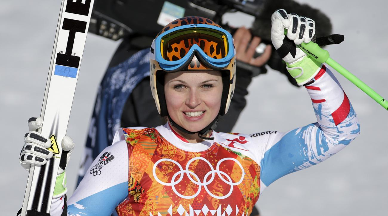Austria's Anna Fenninger pauses in the finish area after competing in the women's super-G at the Sochi 2014 Winter Olympics, Saturday, Feb. 15, 2014, in Krasnaya Polyana, Russia.(AP Photo/Gero Breloer)