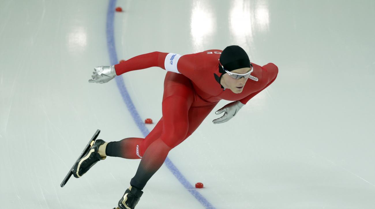 Norway's Havard Bokko competes in the men's 1,500-meter speedskating race at the Adler Arena Skating Center during the 2014 Winter Olympics in Sochi, Russia, Saturday, Feb. 15, 2014. (AP Photo/Matt Dunham)