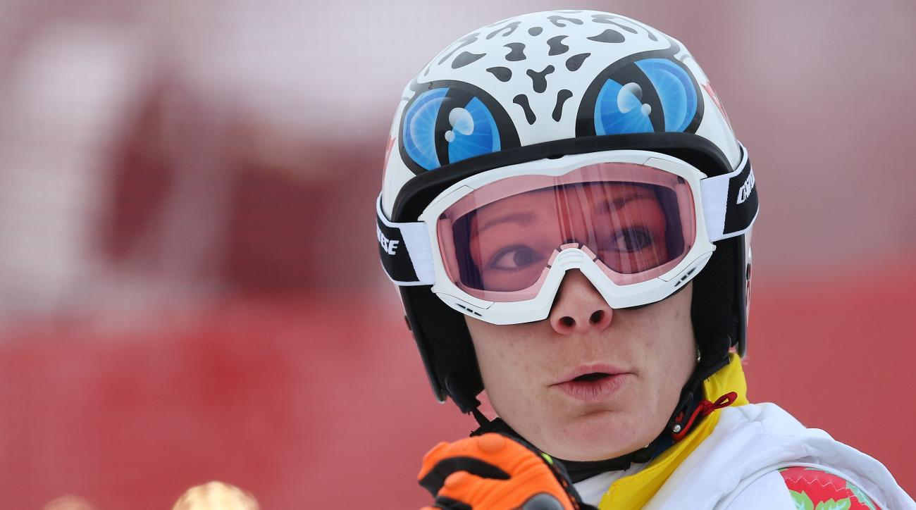 Germany's Maria Hoefl-Riesch stands on the alpine skiing training slopes at the Sochi 2014 Winter Olympics, Monday, Feb. 17, 2014, in Krasnaya Polyana, Russia. (AP Photo/Alessandro Trovati)