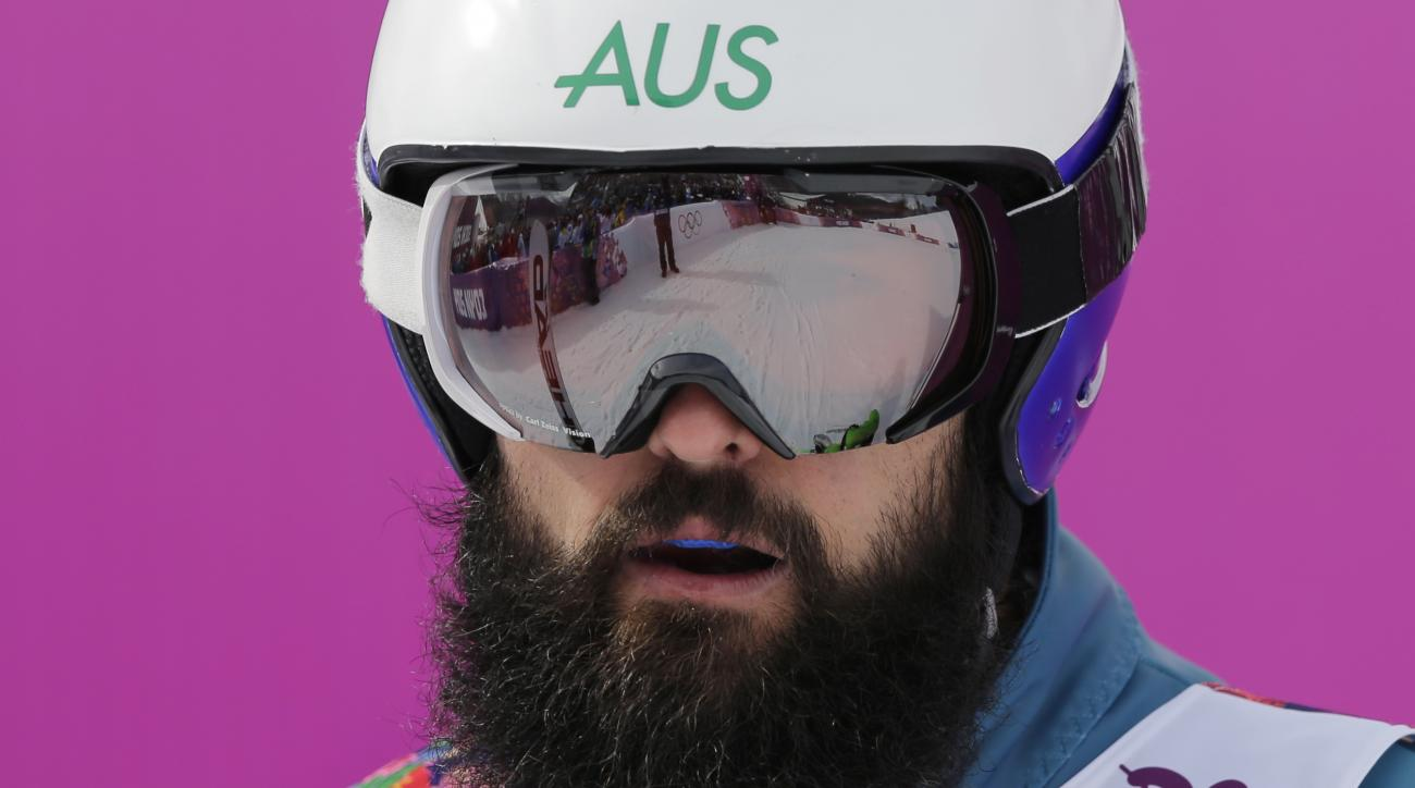 Australia's Anton Grimus waits after his seeding run in the men's ski cross at the Rosa Khutor Extreme Park, at the 2014 Winter Olympics, Thursday, Feb. 20, 2014, in Krasnaya Polyana, Russia. (AP Photo/Andy Wong)