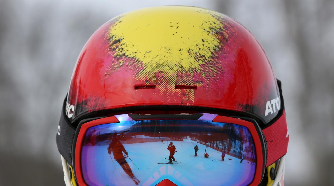 Austria's Marcel Hirscher trains for the men's slalom at the Alpine ski venue at the Sochi 2014 Winter Olympics, Thursday, Feb. 20, 2014, in Krasnaya Polyana, Russia. (AP Photo/Alessandro Trovati)