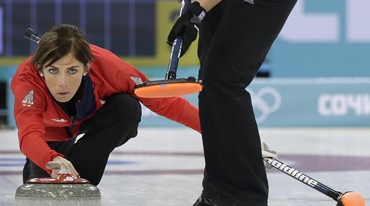 Britain's skip Eve Muirhead, delivers the rock during the women's curling bronze medal game against Switzerland at the 2014 Winter Olympics, Thursday, Feb. 20, 2014, in Sochi, Russia. (AP Photo/Wong Maye-E)