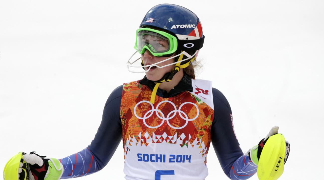 United States' Mikaela Shiffrin pauses after completing the first run of the women's slalom at the Sochi 2014 Winter Olympics, Friday, Feb. 21, 2014, in Krasnaya Polyana, Russia.(AP Photo/Gero Breloer)
