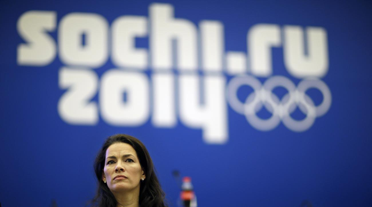 Former Olympic figure skater Nancy Kerrigan takes a question from the media after a screening of a new documentary about the 1994 attack on her which will air the day of the 2014 Winter Olympics closing ceremony, Friday, Feb. 21, 2014, in Sochi, Russia. Kerrigan has been reluctant to talk about rival Tonya Harding's ex-husband hiring a hit squad to take her out before the 1994 Olympics in Lillehammer. She finally relented for a show that marks the 20-year anniversary of the incident, which thrust figure skating into the spotlight and spawned an international media frenzy. (AP Photo/David Goldman)