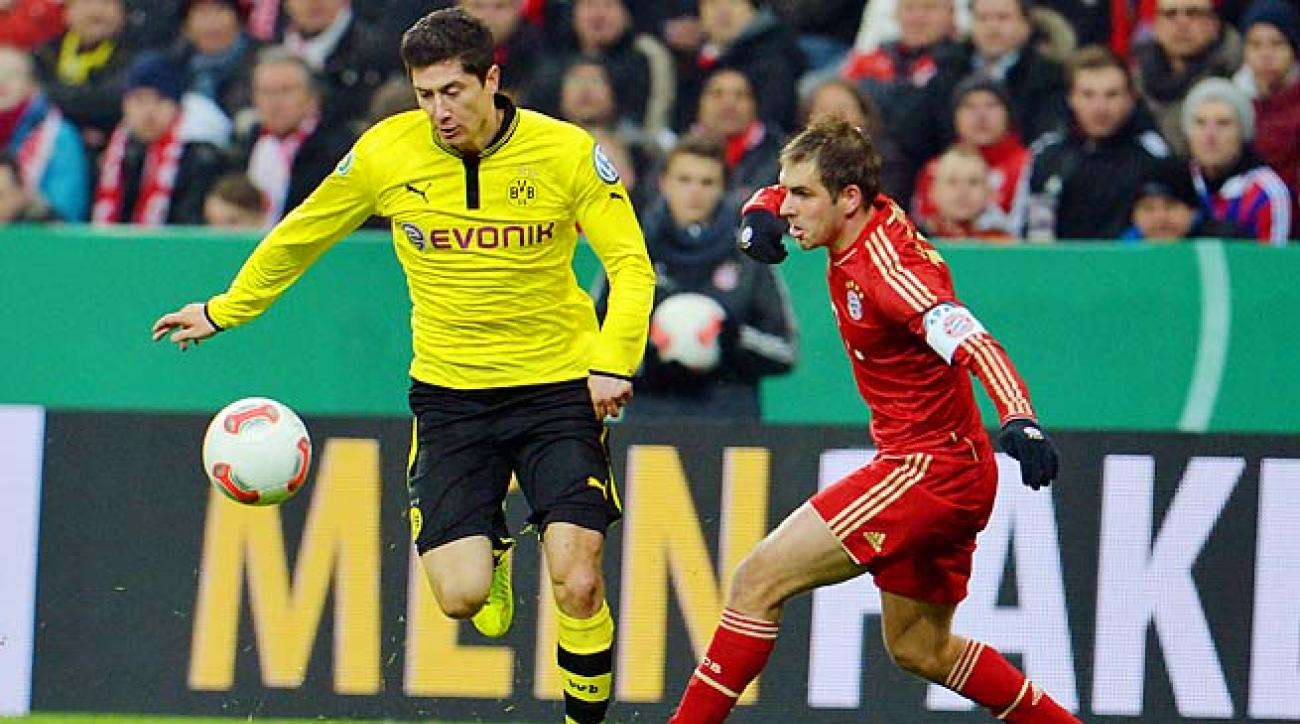 Robert Lewandowski and Dortmund face Bayern in a Bundesliga match on Saturday.