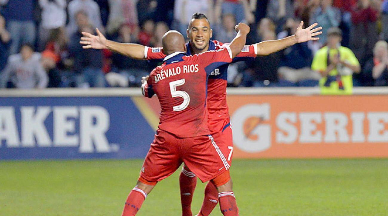The Chicago Fire prevailed over the New England Revolution on Saturday to move into a playoff spot.