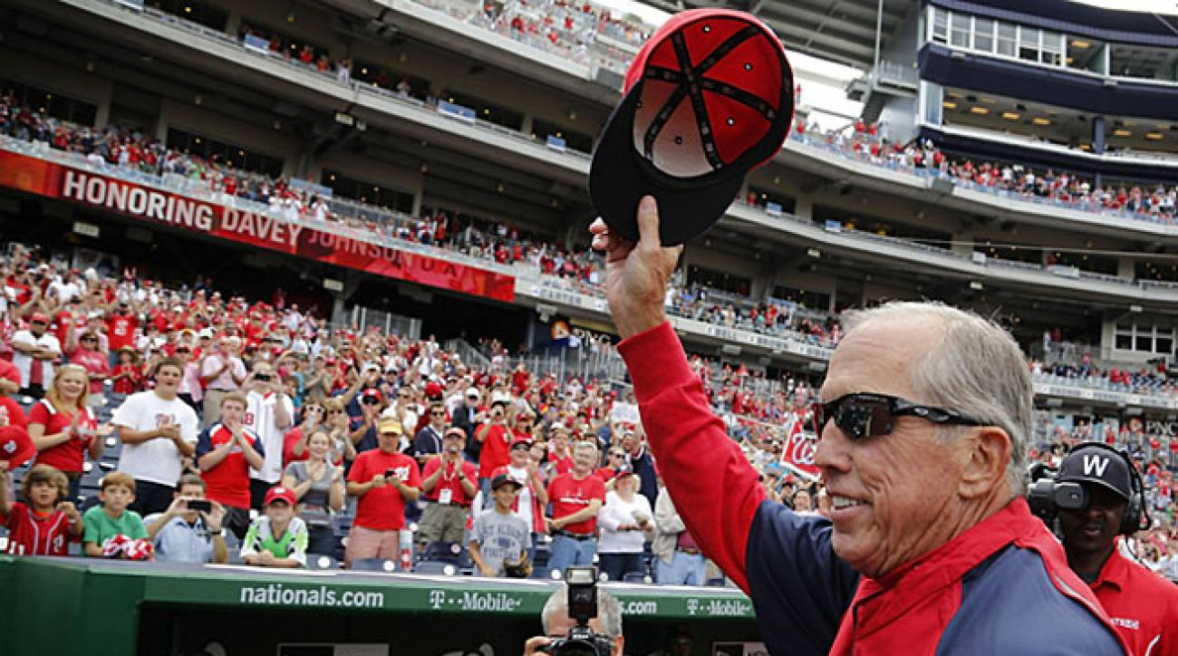 The Nationals honored Davey Johnson on Sunday before his last home games as Washington's manager.