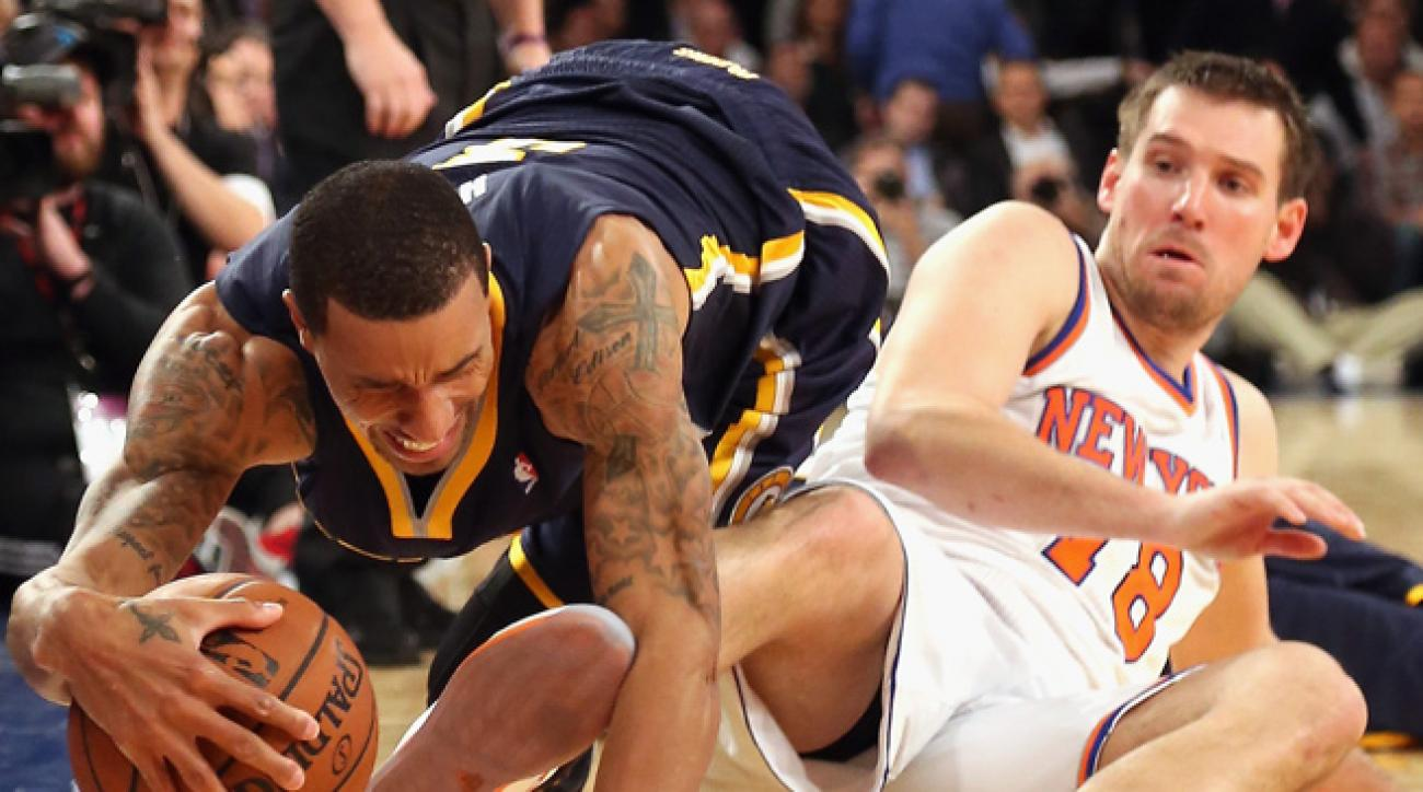 Beno Udrih and the Knicks put up a tough defensive effort against the Pacers in a 103-96 OT loss.