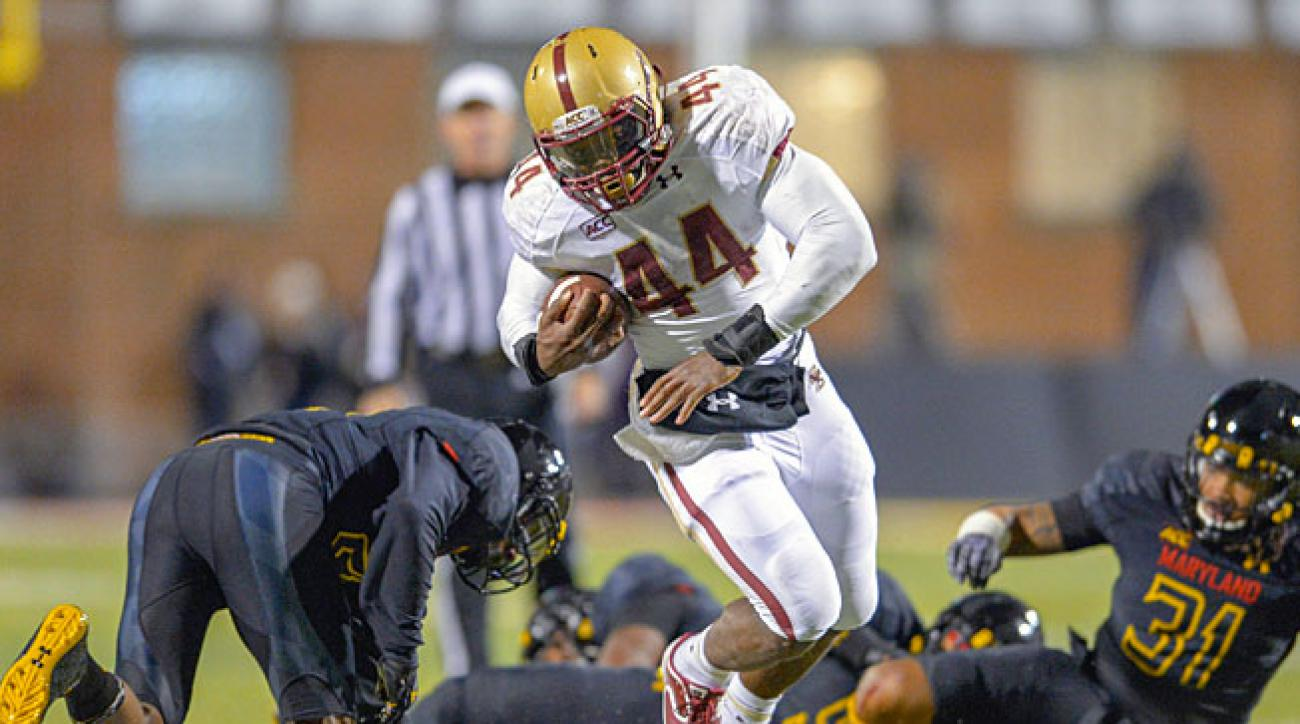 Boston College's Andre Williams (44) has generated Heisman buzz by rushing for 2,073 yards to date.