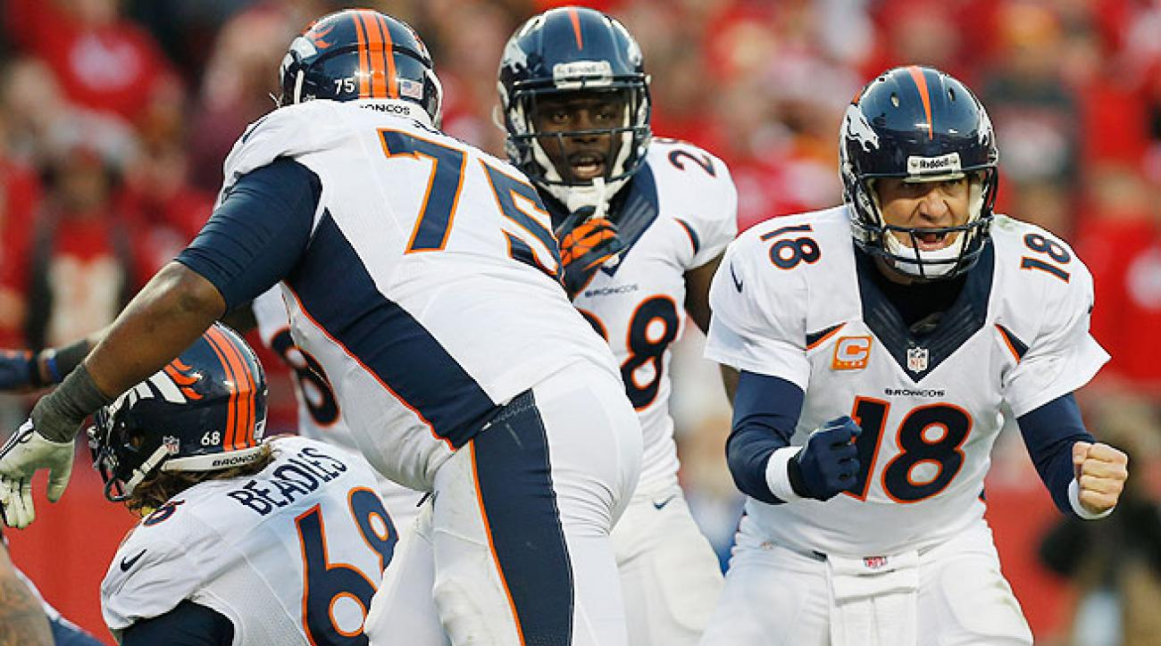 Peyton Manning (right) and the Broncos put up 28 unanswered points to beat the Chiefs in Kansas City.