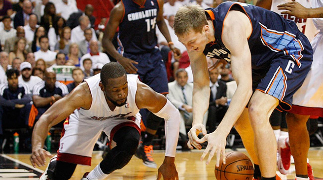 Cody Zeller (right) and the Bobcats jumped out to an early lead, but lost Game 1 to the Heat.