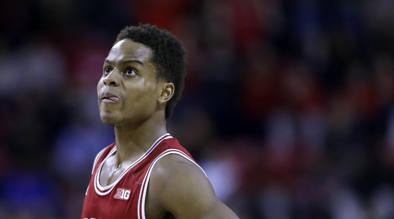 Indiana guard Yogi Ferrell stands on the court in the second half of an NCAA college basketball game against Maryland, Wednesday, Feb. 11, 2015, in College Park, Md. (AP Photo/Patrick Semansky)