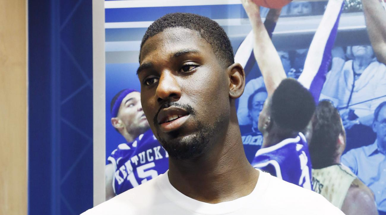 FILE - In this Aug. 6, 2014, file photo, Kentucky's Alex Poythress speaks to the media before the team's NCAA college basketball practice in Lexington, Ky. Poythress will be the first John Calipari recruit to stay all four years with the Wildcats. (AP Pho