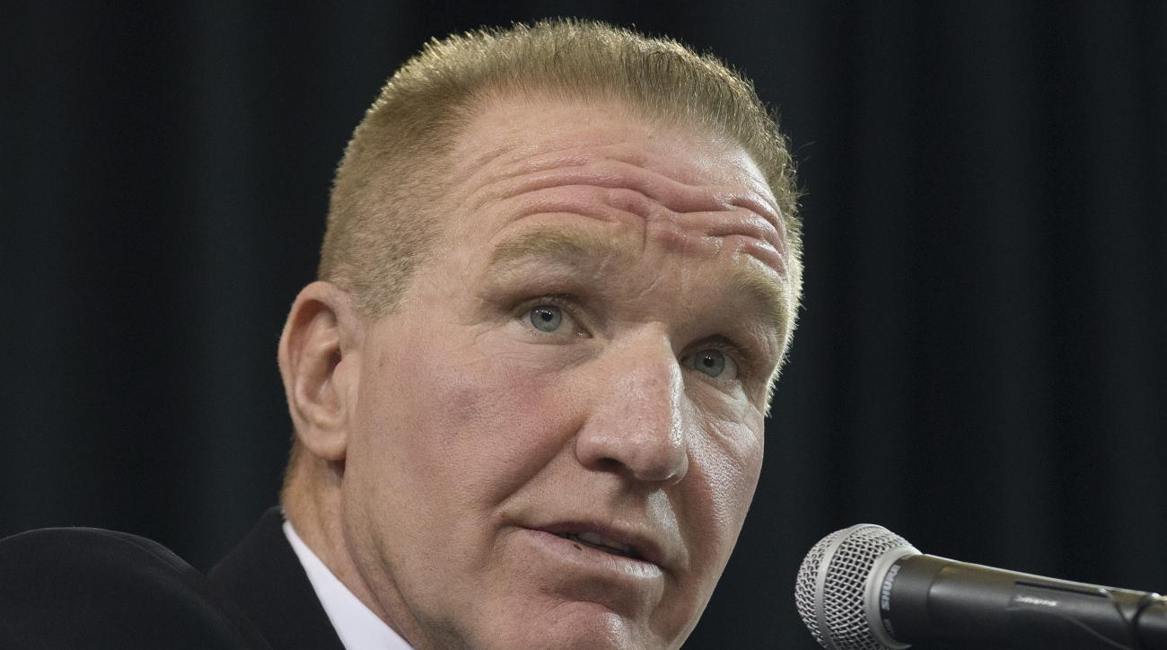 FILE - In this April 1, 2015, former NBA basketball All-Star and St. John's alumnus Chris Mullin speaks during a news conference to announce his hiring as St. John's men's basketball coach, in New York. The reaction from the people around the St. John's p