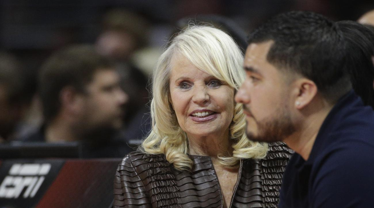 FILE - In this March 4, 2015, file photo, Shelly Sterling, wife of former Los Angeles Clippers owner Donald Sterling, attends an NBA basketball game between the Clippers and the Portland Trail Blazers in Los Angeles. A Los Angeles judge has ruled that She