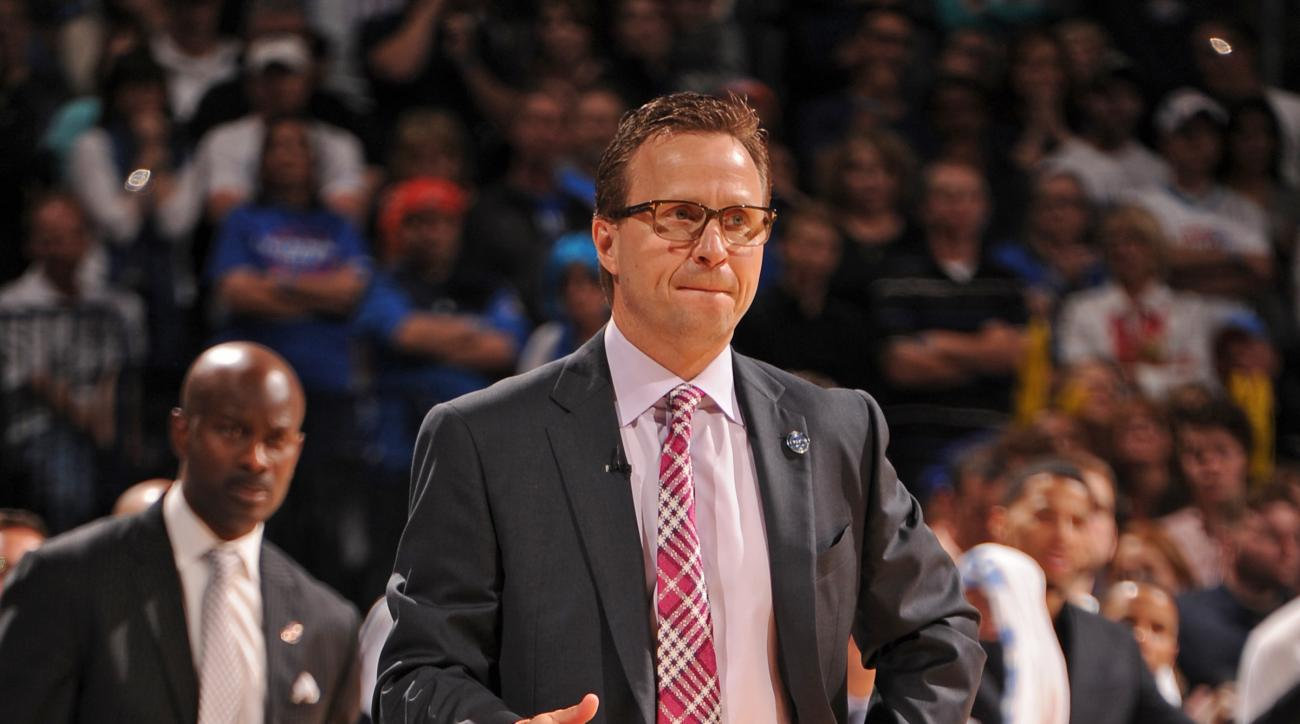 OKLAHOMA CITY, OK- APRIL 5:   Scott Brooks of the Oklahoma City Thunder stands on the court during the game against the Houston Rockets on April 5, 2015 at Chesapeake Energy Arena in Oklahoma City, Oklahoma. (Photo by Bill Baptist/NBAE via Getty Images)