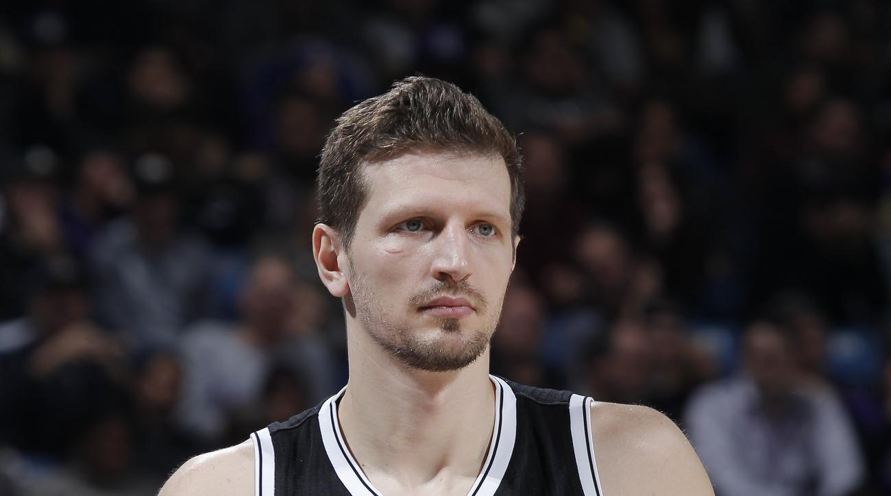SACRAMENTO, CA - JANUARY 21: Mirza Teletovic #33 of the Brooklyn Nets stands on the court during the game against the Sacramento Kings on January 21, 2015 at Sleep Train Arena in Sacramento, California. (Photo by Rocky Widner/NBAE via Getty Images)