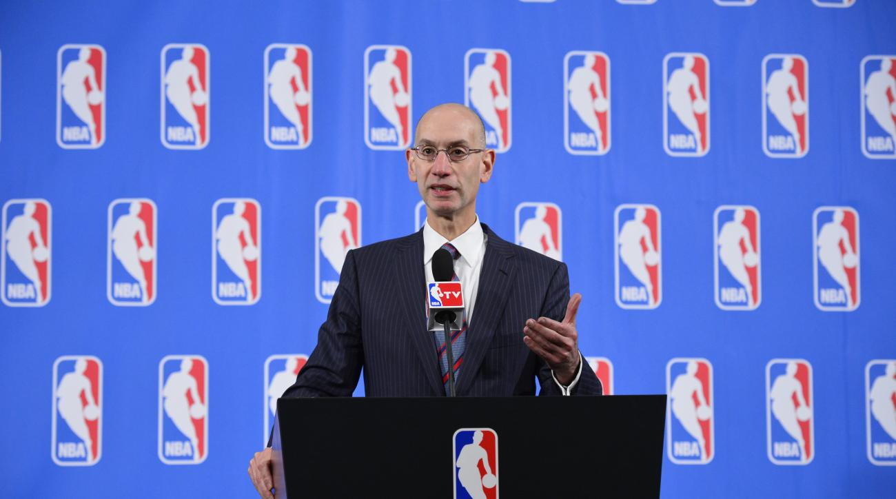 NEW YORK - APRIL 17: NBA Commissioner Adam Silver speaks to the media after the Board of Governors meetings on April 17, 2015 at the St. Regis Hotel in New York City. (Photo by David Dow/NBAE via Getty Images)