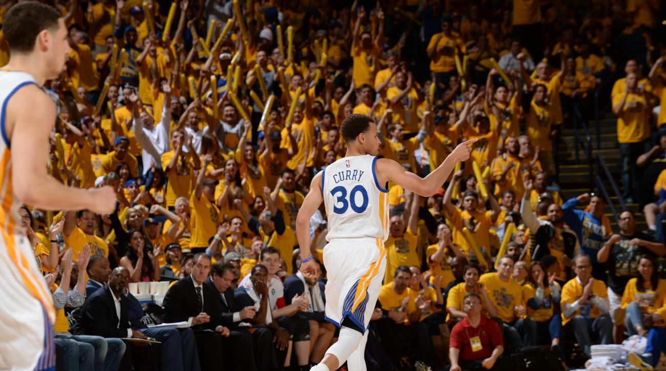 OAKLAND, CA - APRIL 18: Stephen Curry #30 of the Golden State Warriors during Game One of the Western Conference Quarterfinals against the New Orleans Pelicans during the NBA Playoffs on April 18, 2015 at Oracle Arena in Oakland, California. (Photo by Noa