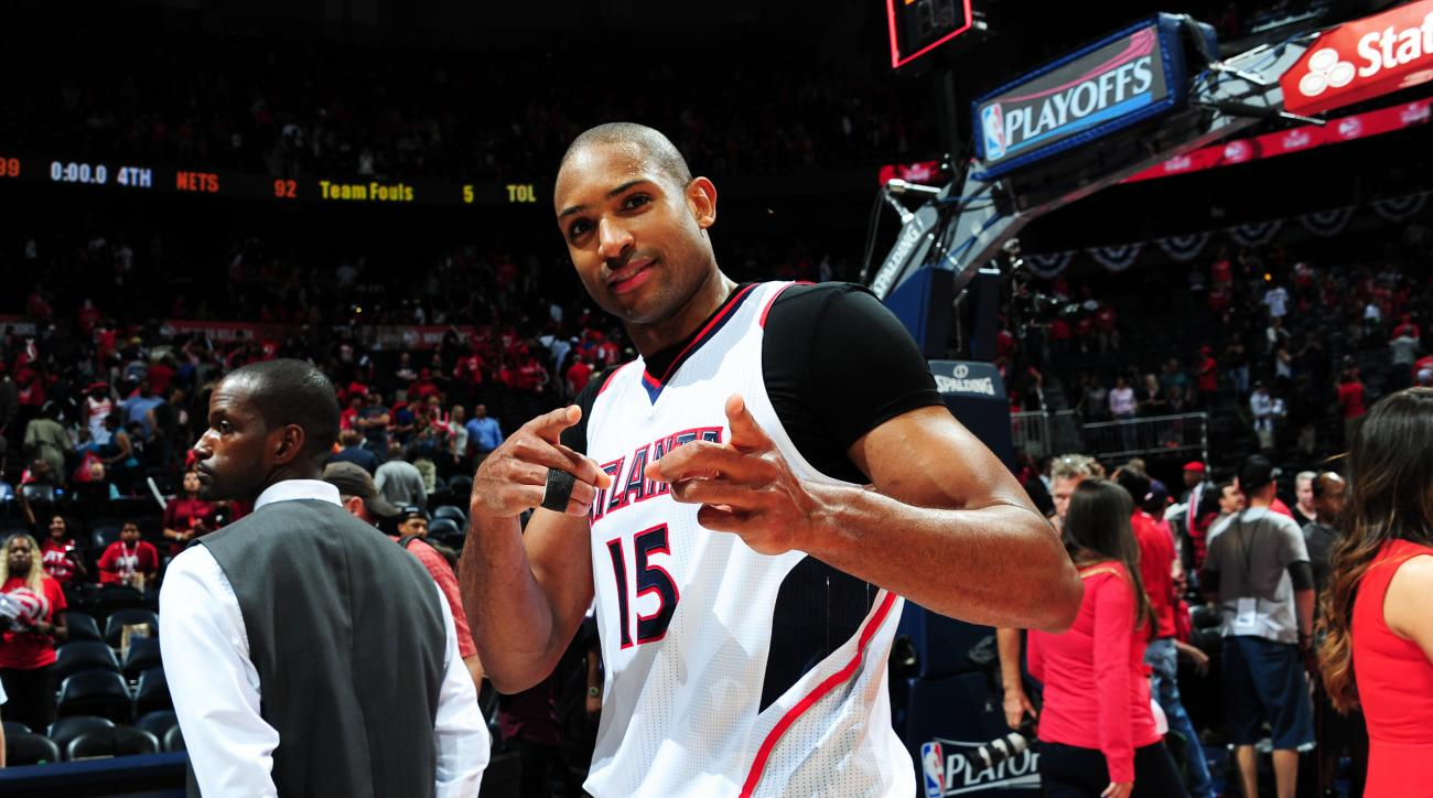 ATLANTA, GA - APRIL 19: Al Horford #15 of the Atlanta Hawks after the win against the Brooklyn Nets during Game One of the Eastern Conference Quarterfinals of the NBA Playoffs on April 19, 2015 at Philips Arena in Atlanta, Georgia.  (Photo by Scott Cunnin