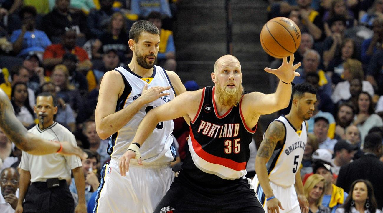 MEMPHIS, TN - APRIL 19:  Marc Gasol #33 of the Memphis Grizzlies defends Chris Kaman #35 of the Portland Trailblazers in the second quarter of Game One of the first round of the 2015 NBA Playoffs at FedExForum on April 19, 2015 in Memphis, Tennessee. (Pho
