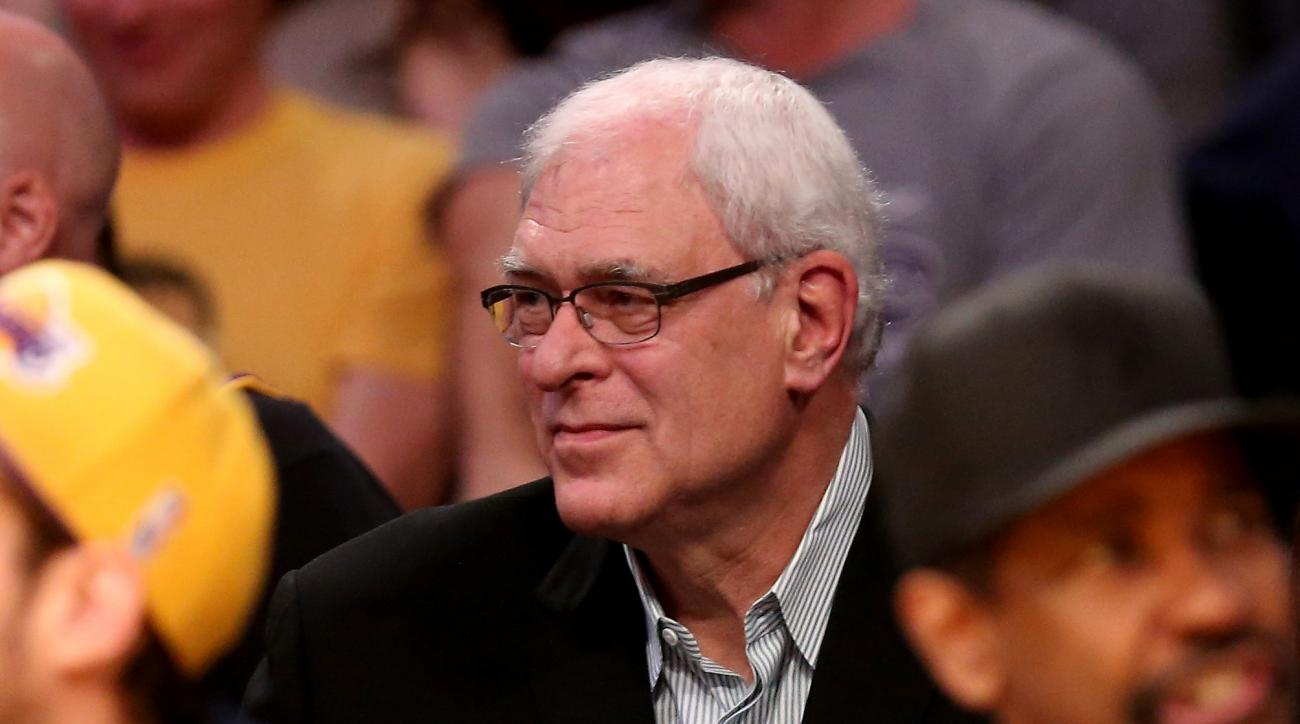 LOS ANGELES, CA - MARCH 12:   New York Knicks president Phil Jackson watches from the stands as his team plays the Los Angeles Lakers at Staples Center on March 12, 2015 in Los Angeles, California.   The Knicks won 101-94.  (Photo by Stephen Dunn/Getty Im