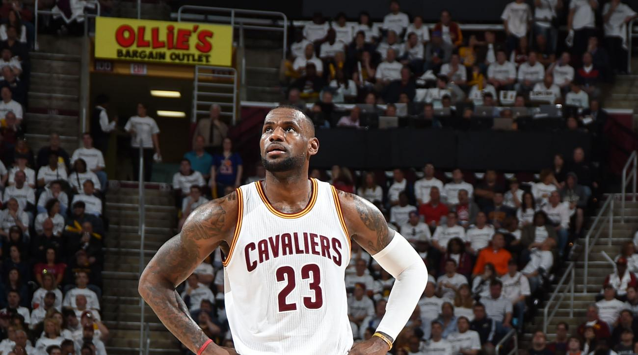 CLEVELAND, OH - APRIL 21: LeBron James #23 of the Cleveland Cavaliers during Game Two of the Eastern Conference Quarterfinals against the Boston Celtics during the 2015 NBA Playoffs on April 21, 2015 at Quicken Loans Arena in Cleveland, Ohio. (Photo by Br