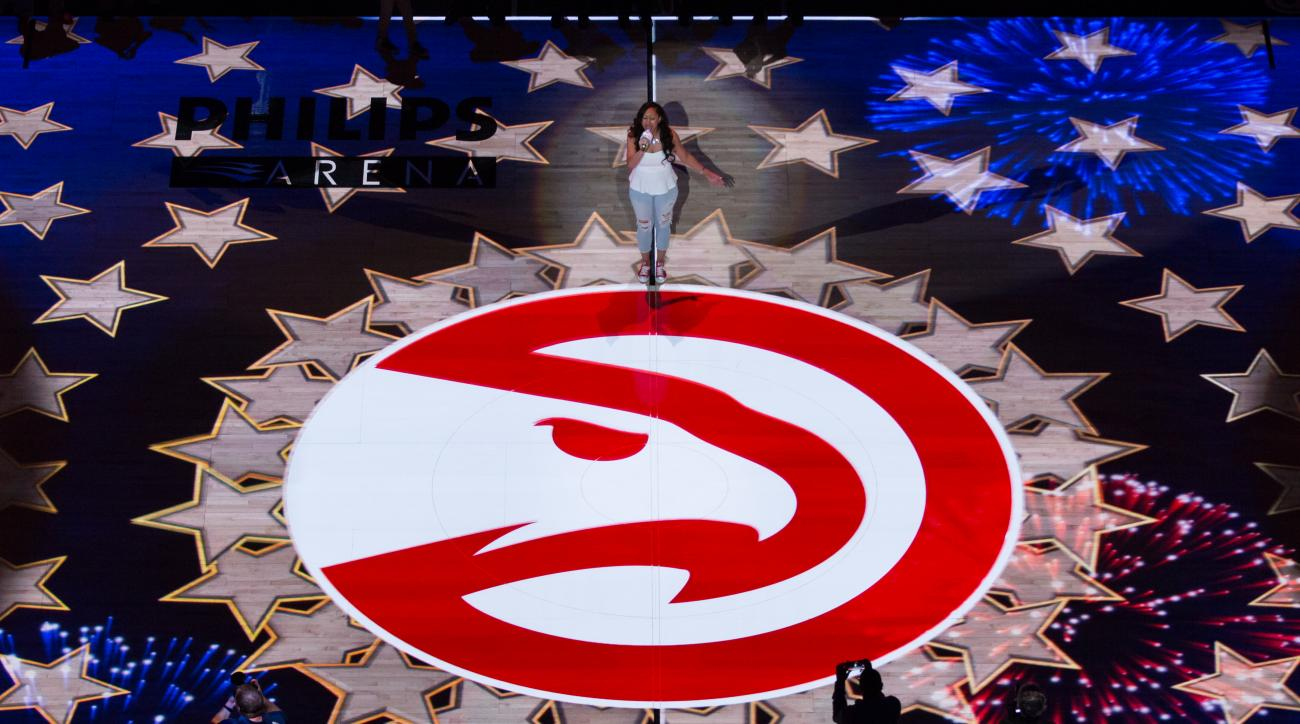 ATLANTA, GA - APRIL 22:  The national anthem is performed before Game Two of the Eastern Conference Quarterfinals between the Atlanta Hawks and the Brooklyn Nets during the 2015 NBA Playoffs on April 22, 2015 at Philips Arena in Atlanta, Georgia.  (Photo