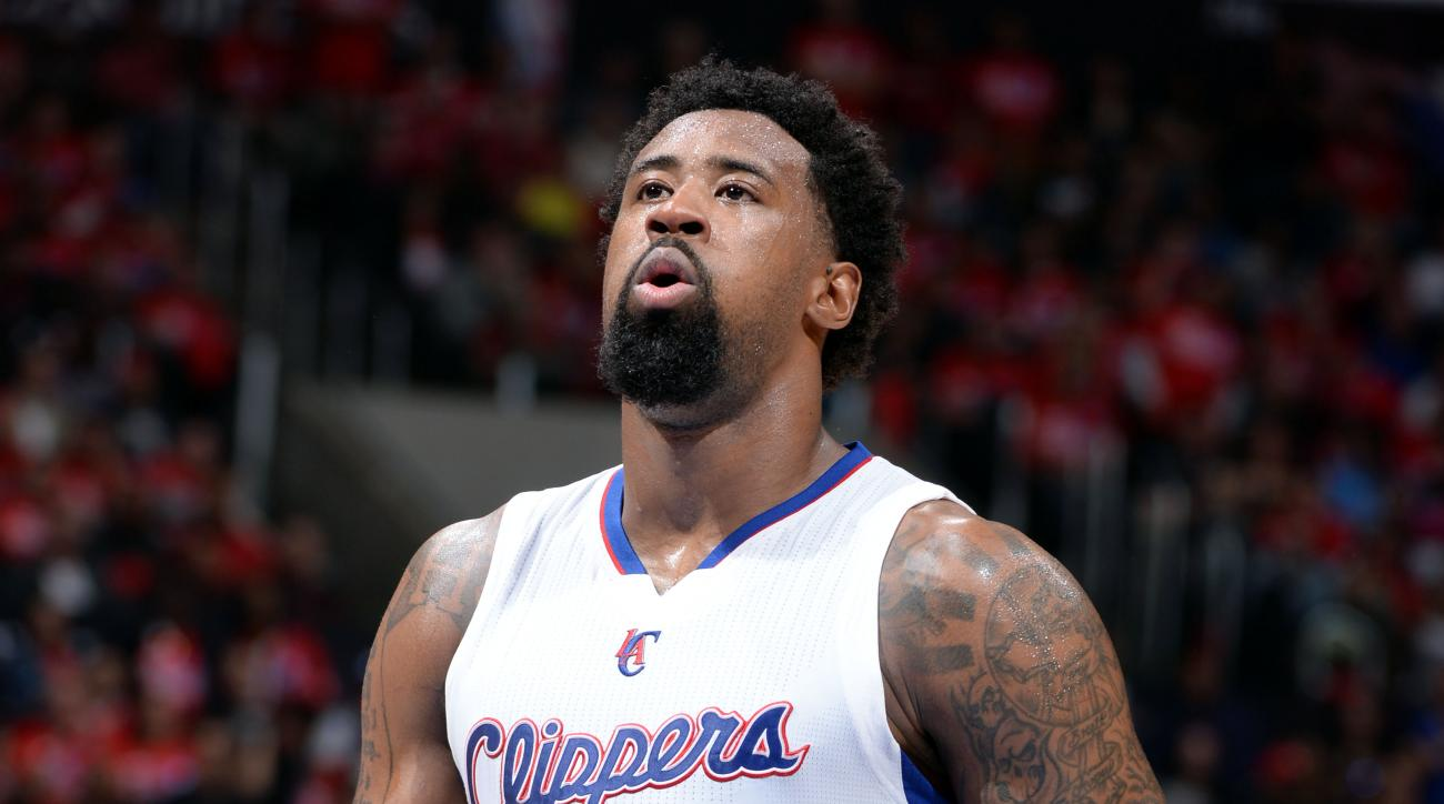 LOS ANGELES, CA - APRIL 22: DeAndre Jordan #6 of the Los Angeles Clippers attempts a free throw against the San Antonio Spurs in Game Two of the Western Conference Quarterfinals during the 2015 NBA Playoffs on April 22, 2015 at Staples Center in Los Angel