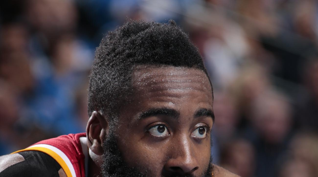 DALLAS, TX - APRIL 24: James Harden #13 of the Houston Rockets against the Dallas Mavericks during Game Three of the Western Conference Quarterfinals of the 2015 NBA Playoffs on April 24, 2015 at the American Airlines Center in Dallas, Texas. (Photo by Gl