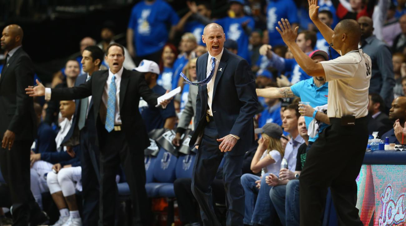 DALLAS, TX - APRIL 24:  Rick Carlisle of the Dallas Mavericks during Game Three of the Western Conference quarterfinals of the 2015 NBA Playoffs at American Airlines Center on April 24, 2015 in Dallas, Texas.  (Photo by Ronald Martinez/Getty Images)