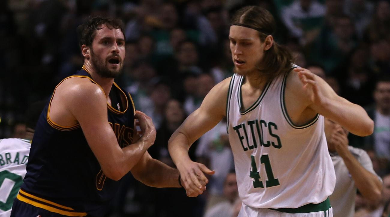 BOSTON, MA - APRIL 26: Kevin Love #0 of the Cleveland Cavaliers reacts after an injury against the Boston Celtics in the first quarter in Game Four during the first round of the 2015 NBA Playoffs on April 26, 2015 at TD Garden in Boston, Massachusetts. (P