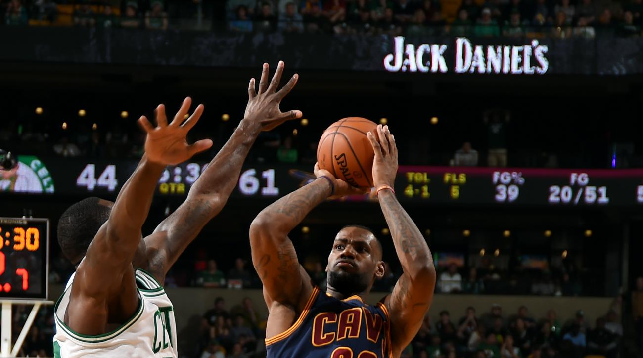 BOSTON, MA - APRIL 26: LeBron James #23 of the Cleveland Cavaliers shoots against the Boston Celtics in Game Four of the Eastern Conference Quarterfinals during the 2015 NBA Playoffs on April 26, 2015 at TD Garden in Boston, Massachusetts. (Photo by Brian