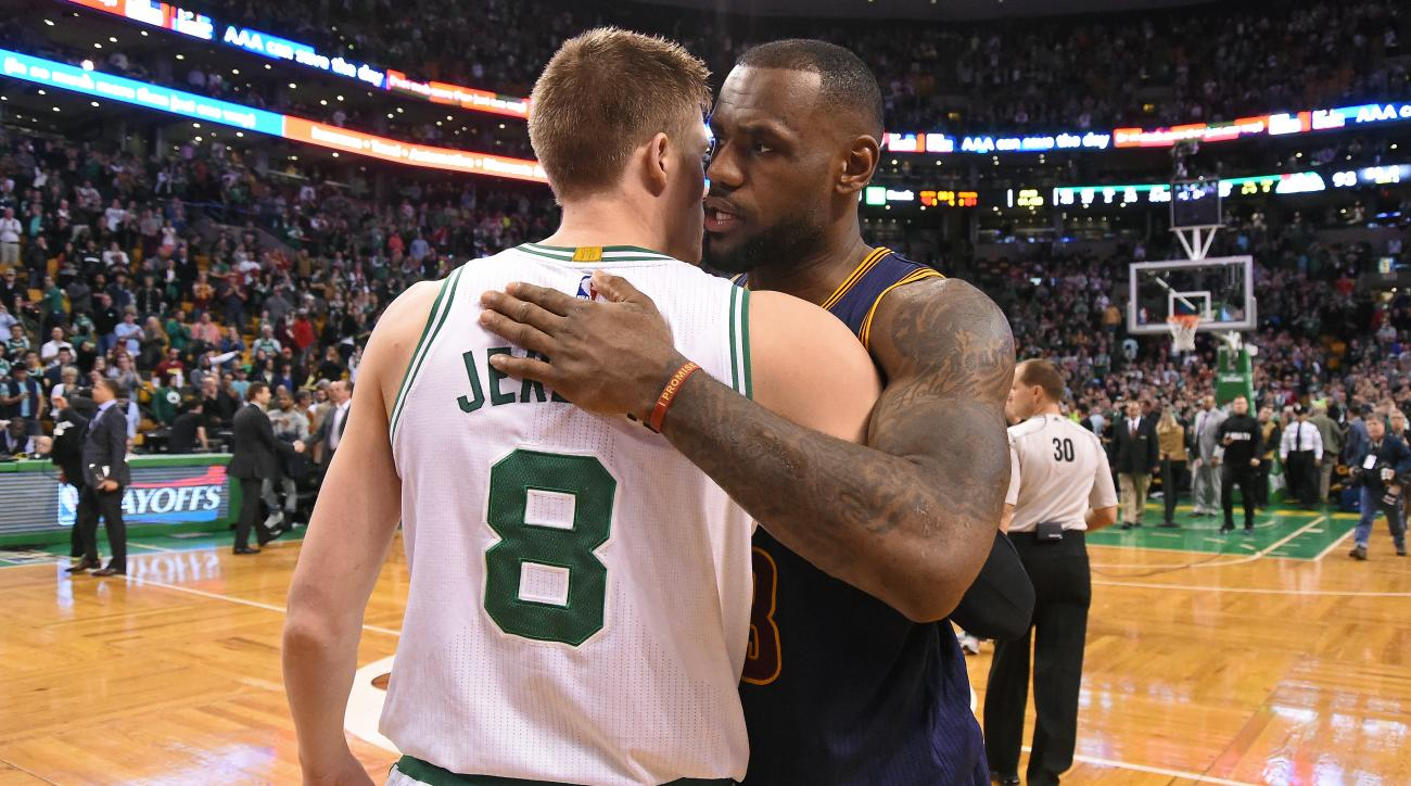 BOSTON, MA - APRIL 26:  Jonas Jerebko #8 of the Boston Celtics and LeBron James #23 of the Cleveland Cavaliers hug after Game Four of the Eastern Conference Quarterfinals during the 2015 NBA Playoffs on April 26, 2015 at TD Garden in Boston, Massachusetts