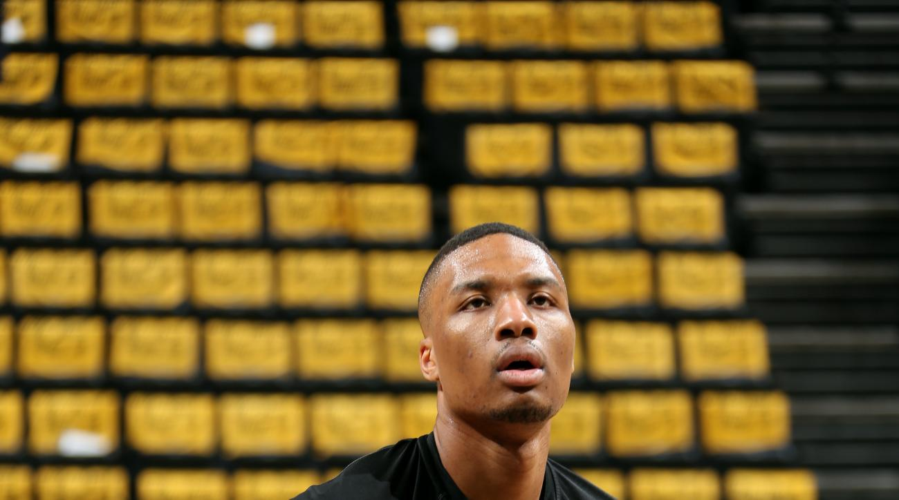 MEMPHIS, TN - APRIL 29: Damian Lillard #0 of the Portland Trail Blazers warms up before a game against the Memphis Grizzlies in Game Five of the Western Conference Quarterfinals of the NBA Playoffs at FedExForum on April 29, 2015 in Memphis, Tennessee. (P