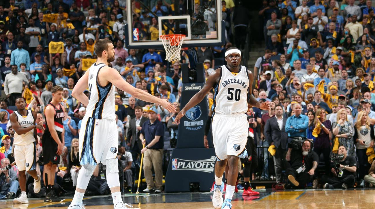 MEMPHIS, TN - APRIL 29: Marc Gasol #33 and Zach Randolph #50 of the Memphis Grizzlies celebrate during a game against the Portland Trail Blazers in Game Five of the Western Conference Quarterfinals of the NBA Playoffs at FedExForum on April 29, 2015 in Me