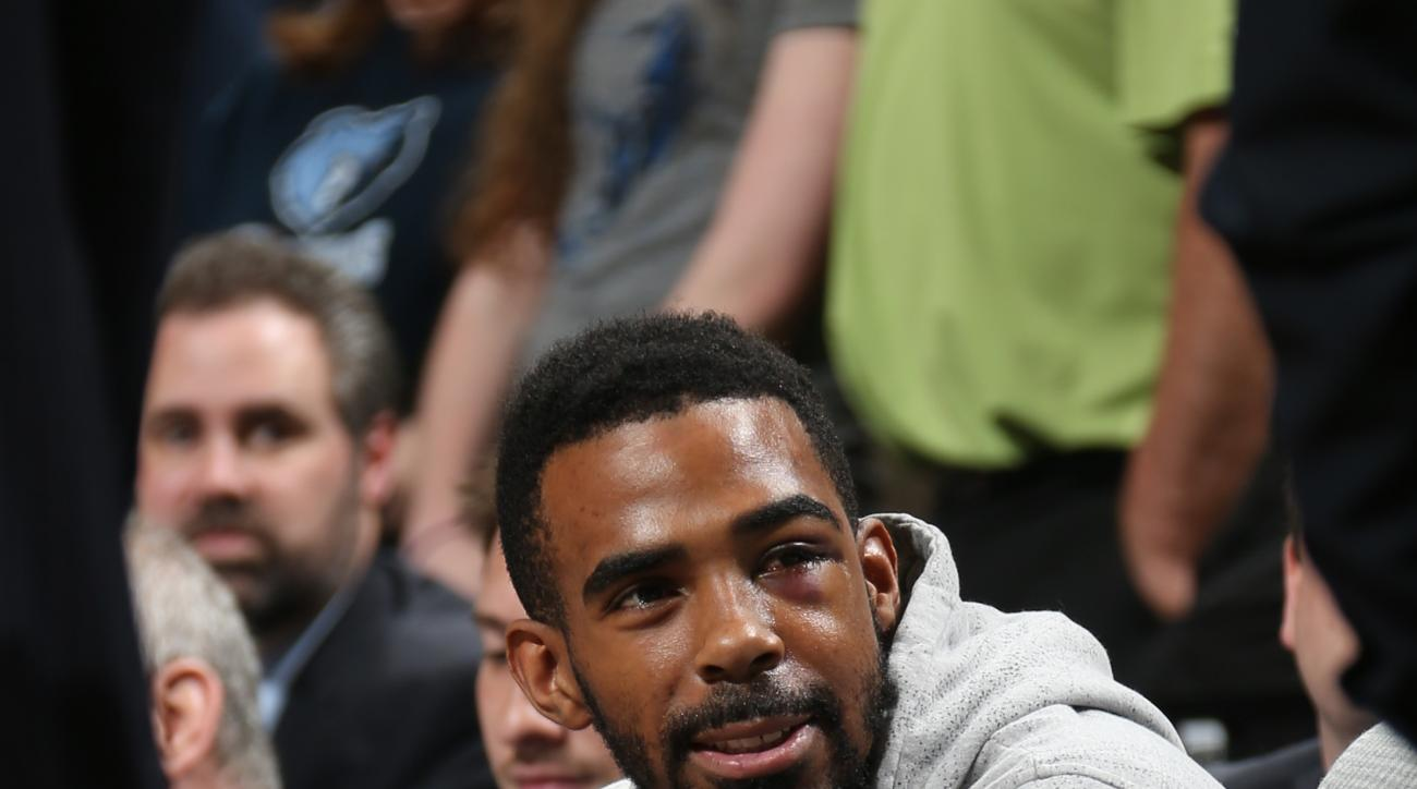 MEMPHIS, TN - APRIL 29:  Mike Conley #11 of the Memphis Grizzlies on the bench during the game against the Portland Trail Blazers in Game Five of the Western Conference Quarterfinals of the NBA Playoffs at FedExForum on April 29, 2015 in Memphis, Tennesse