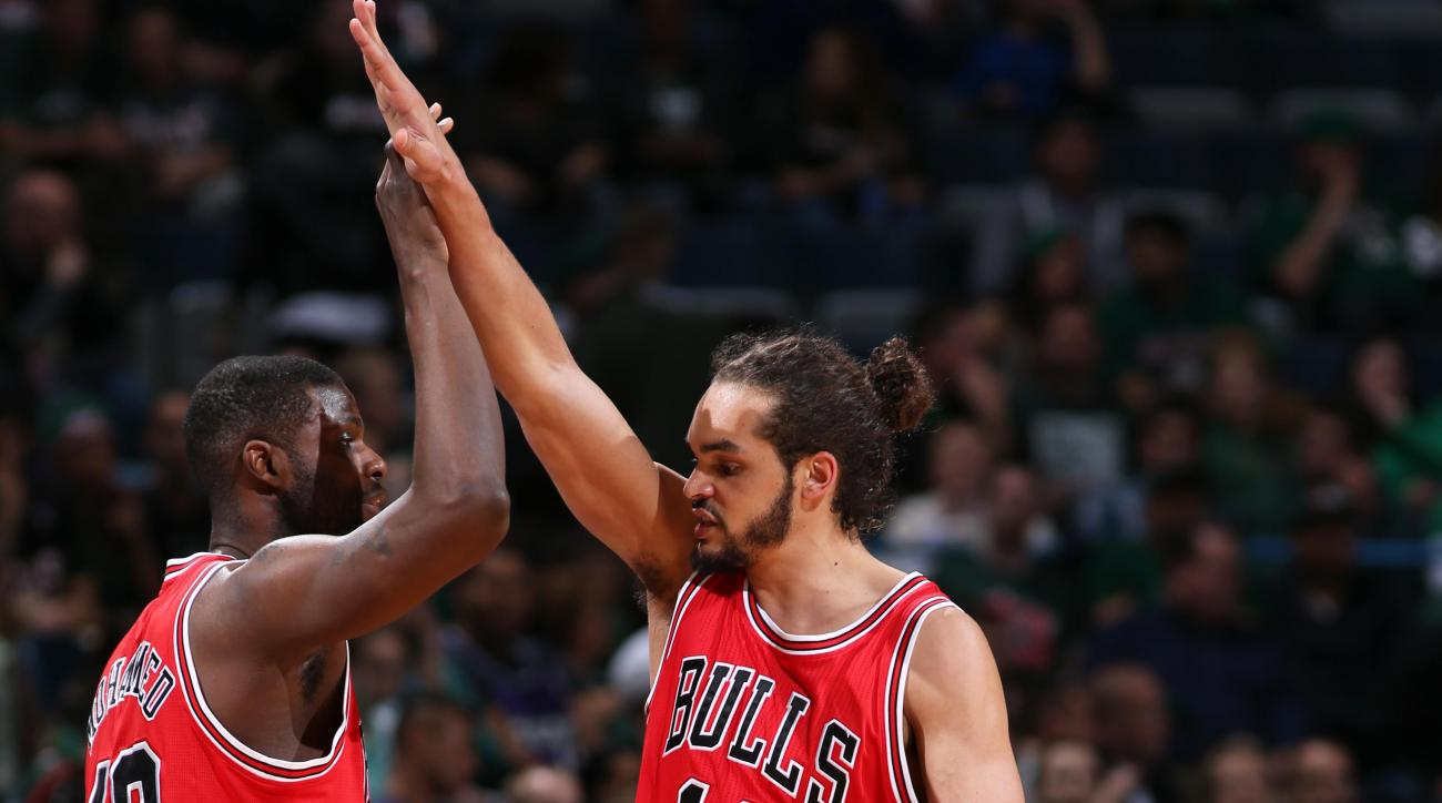 MILWAUKEE, WI - APRIL 30: Nazr Mohammed #48 and Joakim Noah #13 of the Chicago Bulls during the game against the Milwaukee Bucks in Game Six of the Eastern Conference Quarterfinals of the 2015 NBA Playoffs on April 30, 2015 at BMO Harris Bradley Center in