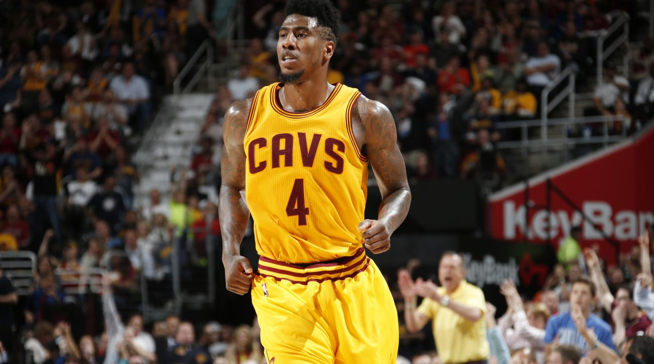 CLEVELAND, OHIO - MAY 6: Iman Shumpert #4 of the Cleveland Cavaliers during Game Two of the Eastern Conference Semifinals against the Chicago Bulls during the NBA Playoffs on May 6, 2015 at Quicken Loans Arena in Cleveland, Ohio.  (Photo by Greg Shamus/NB