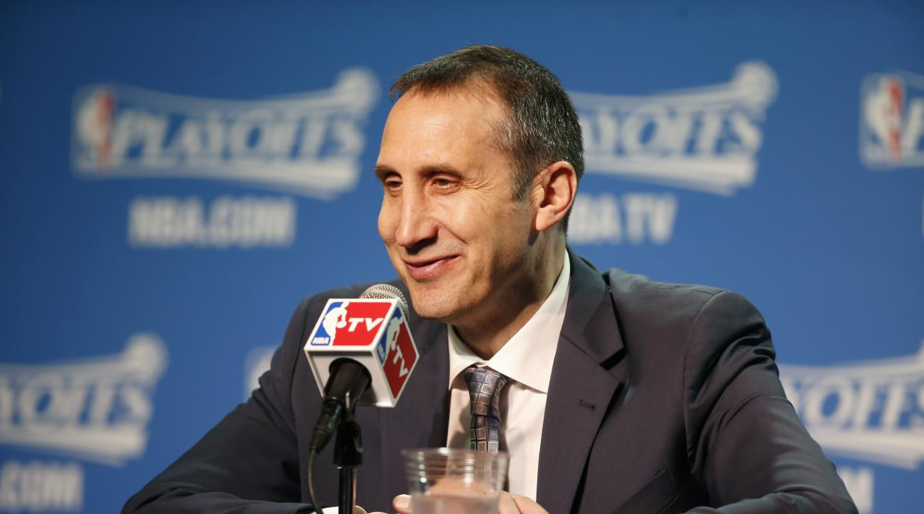 CLEVELAND, OHIO - MAY 6:  Head coach, David Blatt of the Cleveland Cavaliers speaks to press after the win against the Chicago Bulls for Game Two of the Eastern Conference Semifinals during the NBA Playoffs on May 6, 2015 at Quicken Loans Arena in Clevela