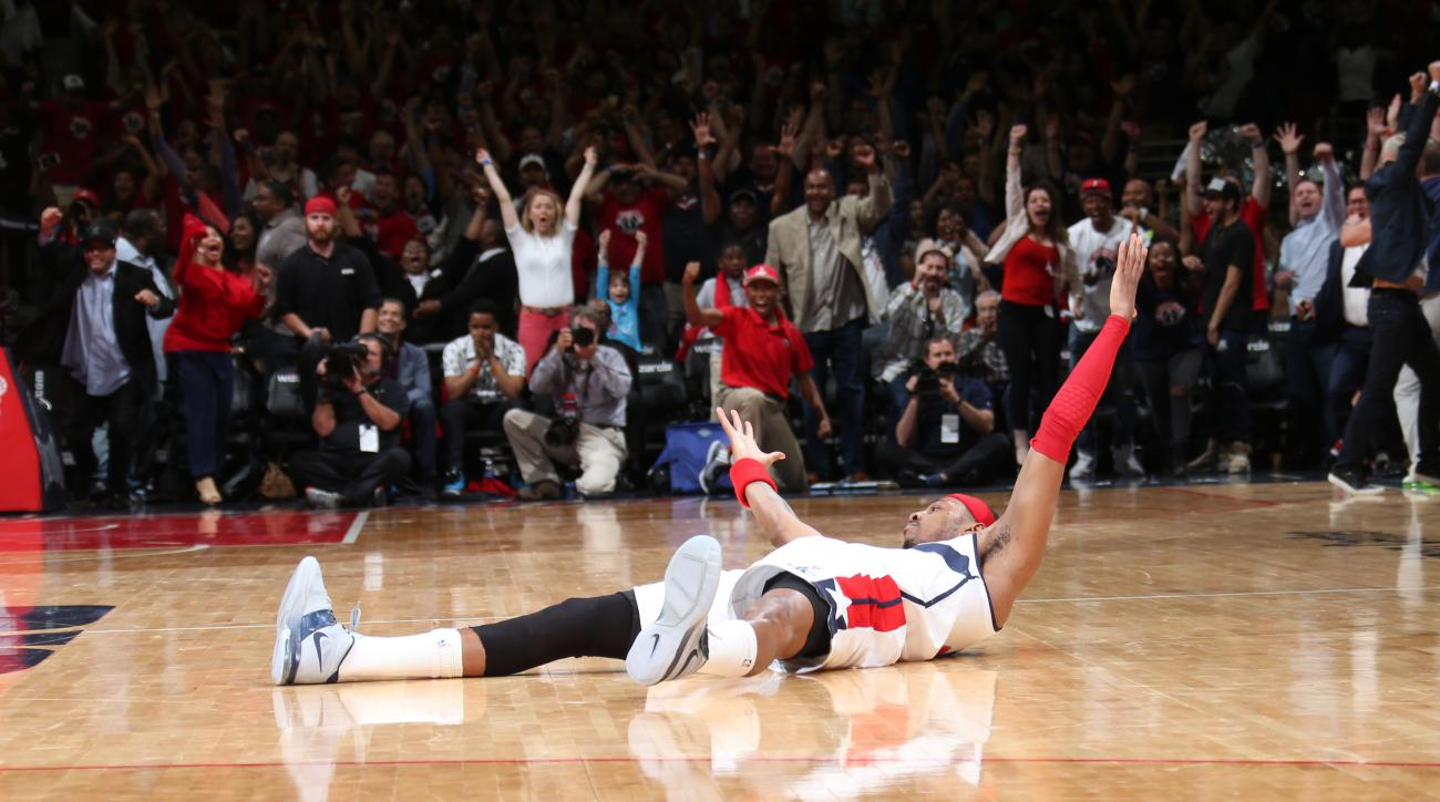 WASHINGTON, DC - MAY 9: Paul Pierce #34 of the Washington Wizards makes the game winning shot with no time left on the clock against the Atlanta Hawks in Game Three of the Eastern Conference Semifinals of the 2015 NBA Playoffs at the Verizon Center on May