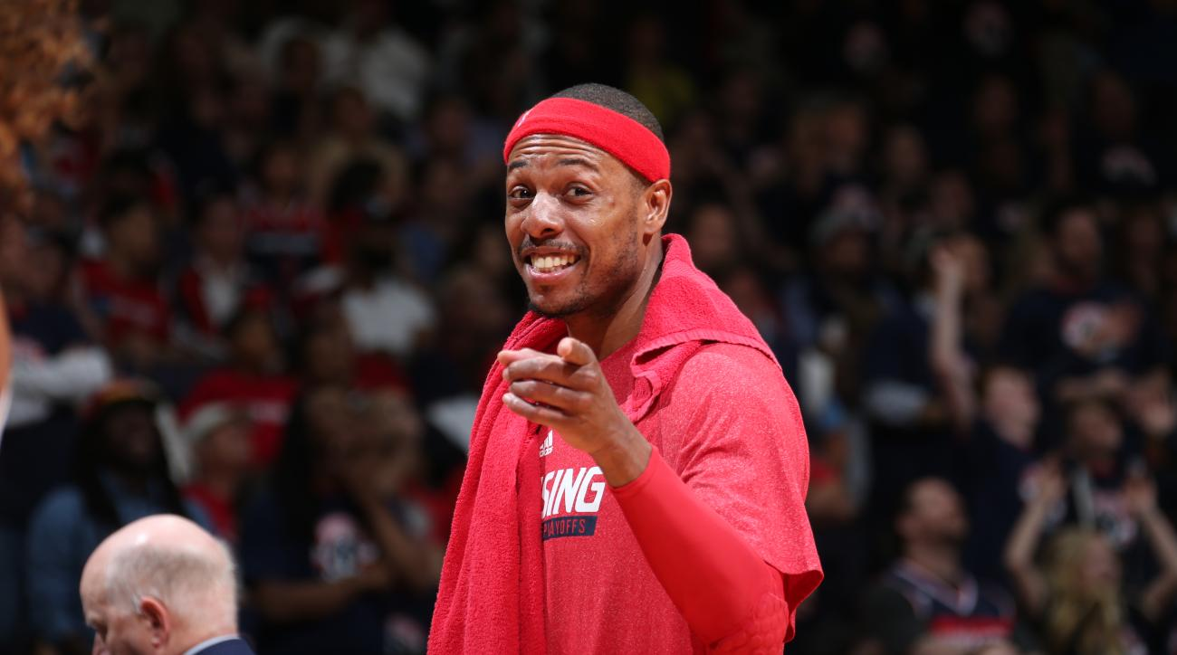 WASHINGTON, DC - MAY 9:  Paul Pierce #34 of the Washington Wizards during the game against the Atlanta Hawks in Game Three of the Eastern Conference Semifinals of the 2015 NBA Playoffs at the Verizon Center on May 9, 2015 in Washington, DC. (Photo by Ned