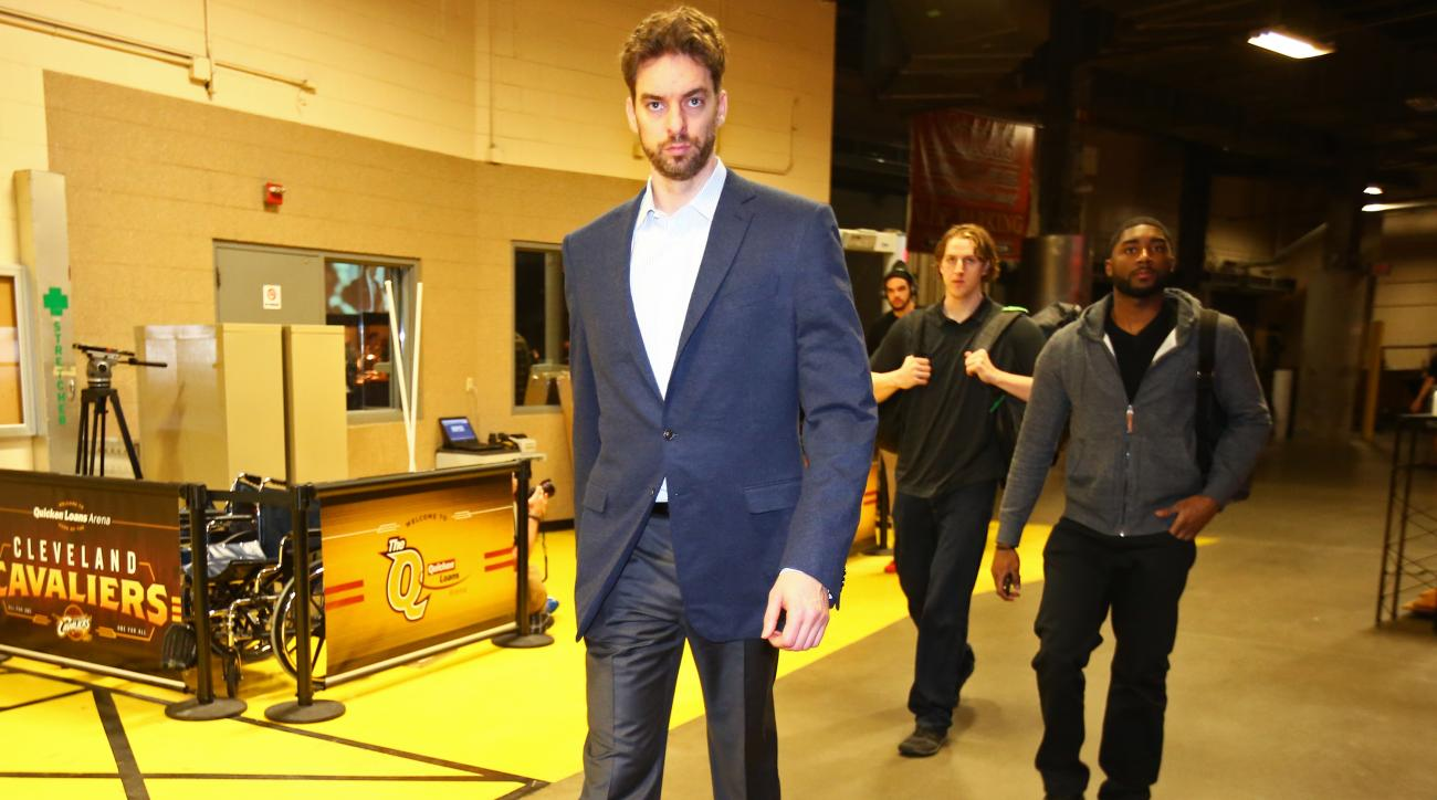 CLEVELAND, OH - MAY 12:  Pau Gasol #16 of the Chicago Bulls arrives before the game against the Cleveland Cavaliers in Game Five of the Eastern Conference Semifinals of the NBA Playoffs at The Quicken Loans Arena on May 12, 2015 in Cleveland, Ohio. (Photo