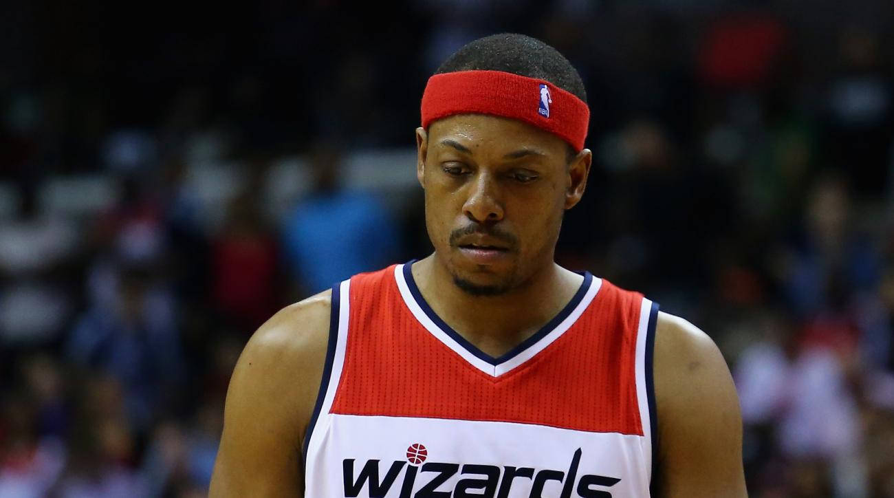 WASHINGTON, DC - MAY 15:  Paul Pierce #34 of the Washington Wizards looks on during the second half against the Atlanta Hawks at Verizon Center on May 15, 2015 in Washington, DC. The Hawks defeat the Wizards 94-91.  (Photo by Maddie Meyer/Getty Images)