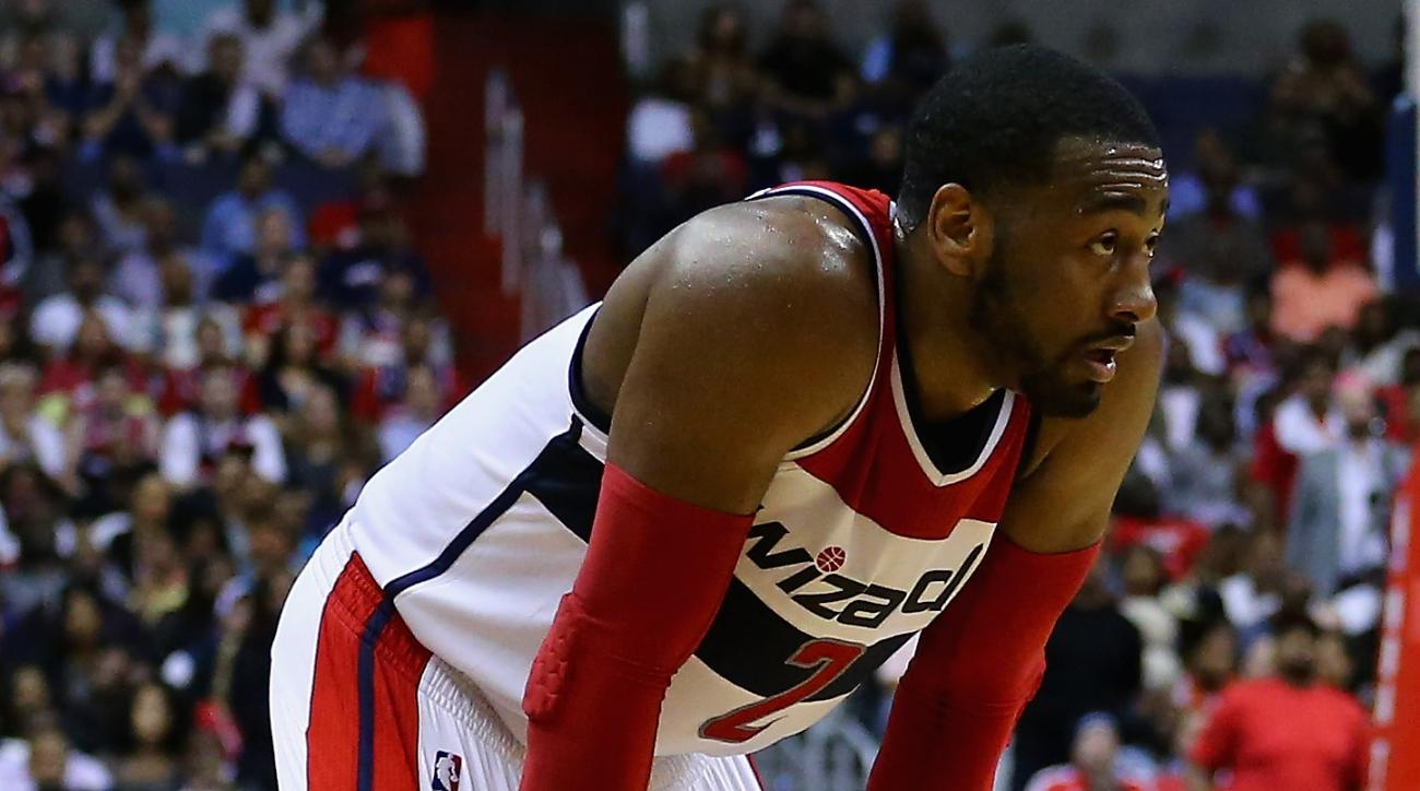 WASHINGTON, DC - MAY 15:  John Wall #2 of the Washington Wizards looks on during the second half against the Atlanta Hawks at Verizon Center on May 15, 2015 in Washington, DC. The Hawks defeat the Wizards 94-91.  (Photo by Maddie Meyer/Getty Images)