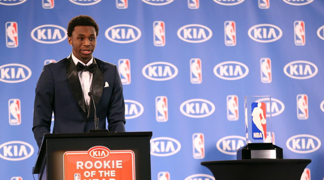 MINNEAPOLIS, MN - APRIL 30:  Andrew Wiggins #22 of the Minnesota Timberwolves speaks while he is presented with the 2014- 2015 Kia NBA Rookie of the Year Award on April 30, 2015 at Target Center in Minneapolis, Minnesota.  (Photo by David Sherman/NBAE via