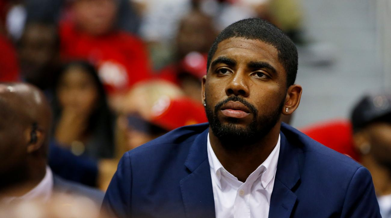 ATLANTA, GA - MAY 22:  Kyrie Irving #2 of the Cleveland Cavaliers looks on from the bench in the third quarter against the Atlanta Hawks during Game Two of the Eastern Conference Finals of the 2015 NBA Playoffs at Philips Arena on May 22, 2015 in Atlanta,