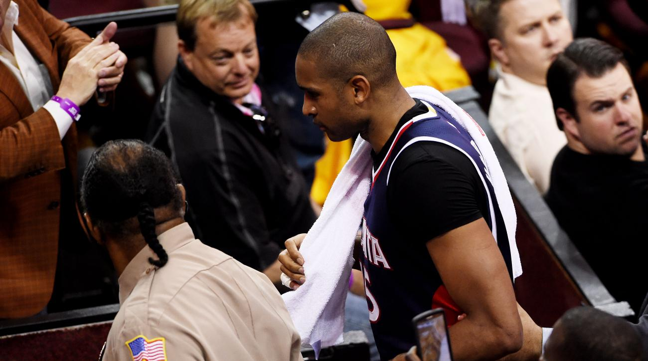CLEVELAND, OH - MAY 24:  Al Horford #15 of the Atlanta Hawks walks off the court after being ejected from the game for a flagrant foul in the second quarter against the Cleveland Cavaliers during Game Three of the Eastern Conference Finals of the 2015 NBA