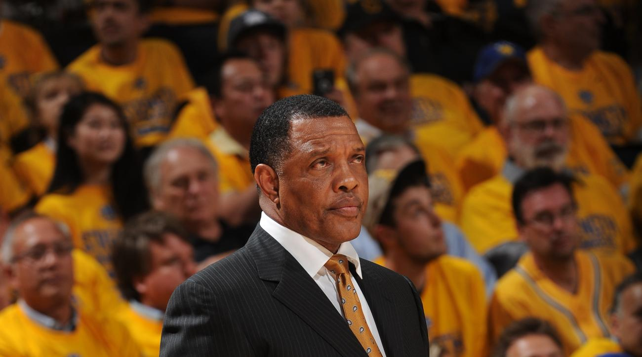 OAKLAND, CA - MAY 27: Alvin Gentry of the Golden State Warriors stands on the court during a game against the Houston Rockets in Game Five of the Western Conference Finals of the 2015 NBA Playoffs on May 27, 2015 at Oracle Arena in Oakland, California. (P